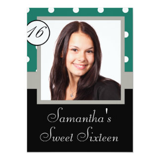 Green polkadot sweet sixteen card