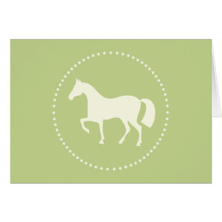 Green pony silhouette greeting cards (horizontal)