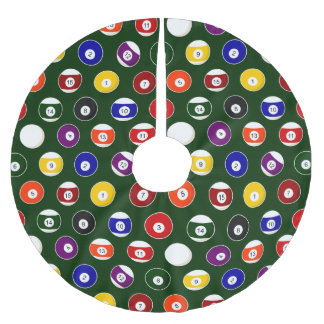 Green Pool Ball Billiards Pattern Brushed Polyester Tree Skirt
