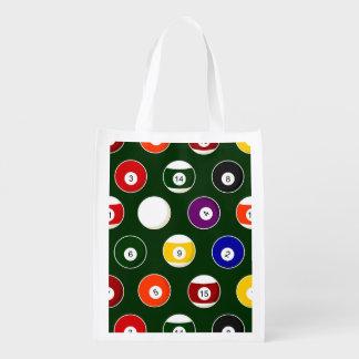 Green Pool Ball Billiards Pattern Reusable Grocery Bag