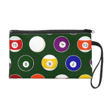 Green Pool Ball Billiards Pattern Wristlet Purse