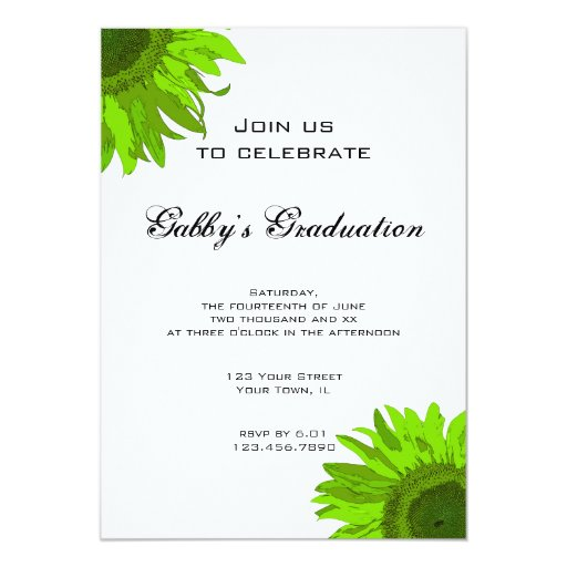 Green Pop Art Flower Graduation Party Invitation