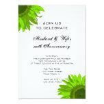 Green Pop Art Flower Wedding Anniversary Party Custom Invites