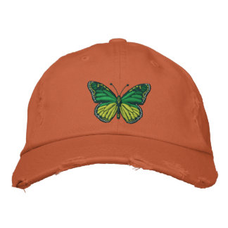 Green Pop Monarch Butterfly Embroidered Baseball Hat