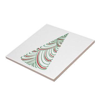 Green Porcelain Swirl & Drape Xmas Tree Red Balls Small Square Tile