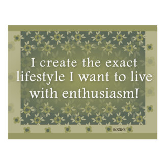 Green Positive Affirmations For Dream Lifestyle Postcard