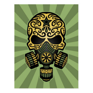 Green Post Apocalyptic Sugar Skull Post Cards