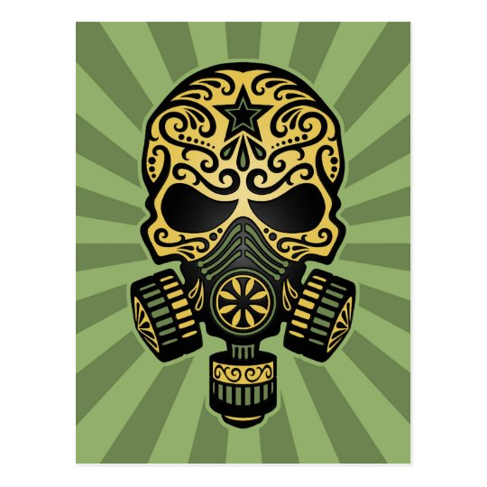 Green Post Apocalyptic Sugar Skull Postcard