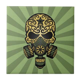 Green Post Apocalyptic Sugar Skull Ceramic Tiles