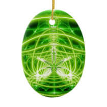 Green Pot Leaf Fractal Ceramic Ornament