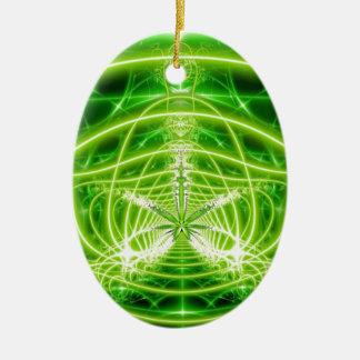 Green Pot Leaf Fractal Ceramic Ornament