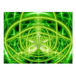 Green Pot Leaf Fractal Post Card