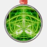 Green Pot Leaf Fractal Round Metal Christmas Ornament