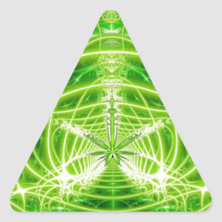 Green Pot Leaf Fractal Triangle Sticker