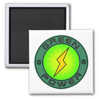 Green Power 2 Inch Square Magnet