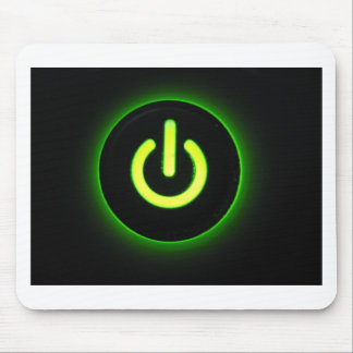 Green Power Button Mouse Pad