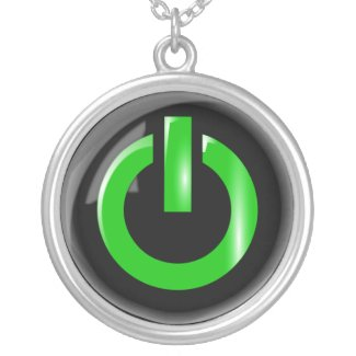 Green Power Button Necklace necklace
