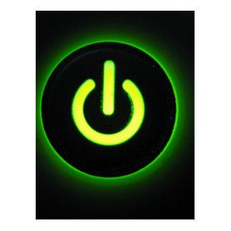Green Power Button Postcard