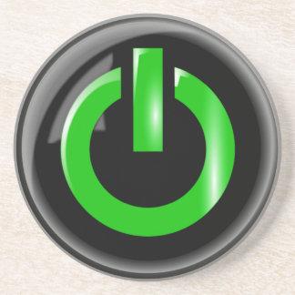 Green Power Button Thirsty Coaster
