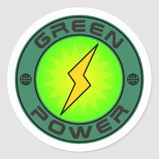 Green Power Classic Round Sticker