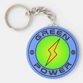 Green Power II Basic Round Button Keychain