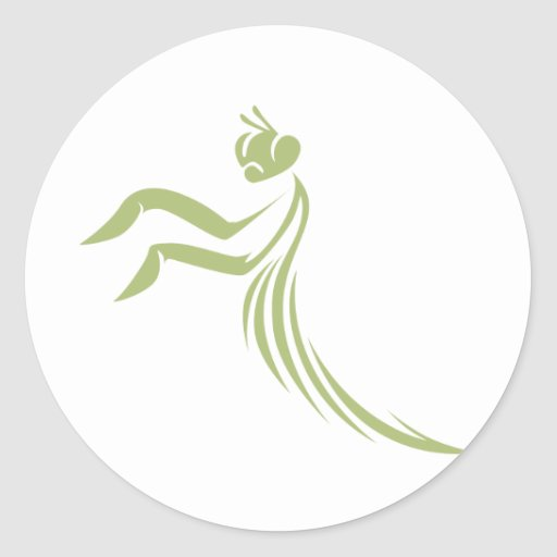 Green Praying Mantis Logo Classic Round Sticker