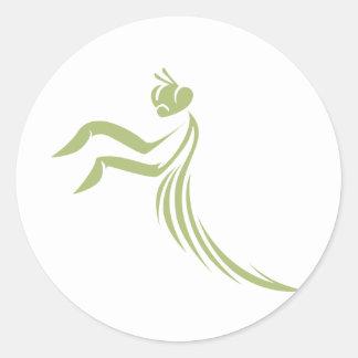 Green Praying Mantis Logo Round Sticker