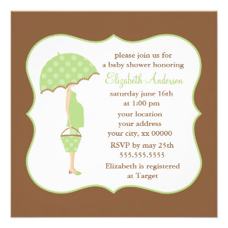Green Pregnant Mom Baby Shower Invite