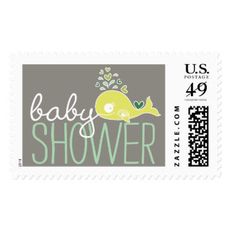 Green Pregnant Mommy Whale Baby Shower Postage