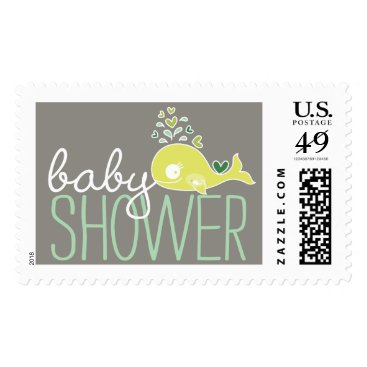 Beach Themed Green Pregnant Mommy Whale Baby Shower Postage
