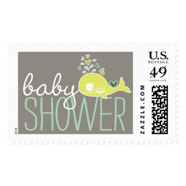 Beach Themed Green Pregnant Whale Twins Baby Shower Postage