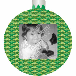 Green Printed Christmas Ball Photo Ornament Frame Photo Cutouts