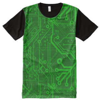 Green Printed Circuit Board Pattern All-Over Print Shirt