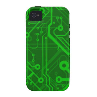 Green Printed Circuit Board Pattern Vibe iPhone 4 Cases