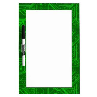 Green Printed Circuit Board Pattern Dry-Erase Whiteboards
