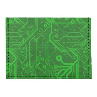Green Printed Circuit Board Pattern Tyvek® Card Case Wallet