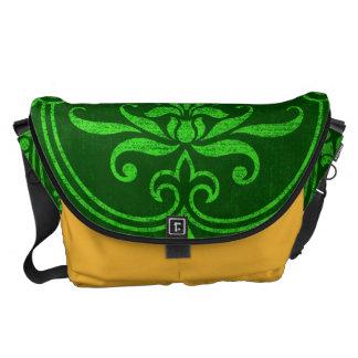 Green Printed Self Texture Design Messenger Bag