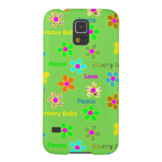 Green Psychedelic 60s Groovy Flowers Print Galaxy S5 Case