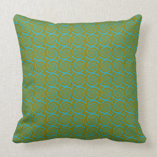 Green Psychedelic Spiral Throw Pillow