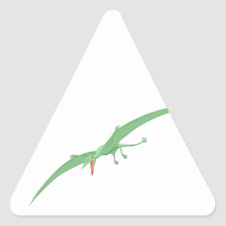 Green Pterodactyl Dinosaur 3 Triangle Sticker