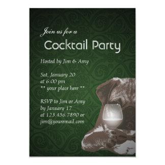 """Green Pug & Fine Wine Cocktail Party Invitations 5"""" X 7"""" Invitation Card"""