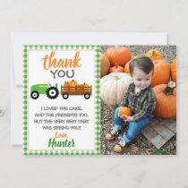 Green Pumpkin Tractor Thank You Card