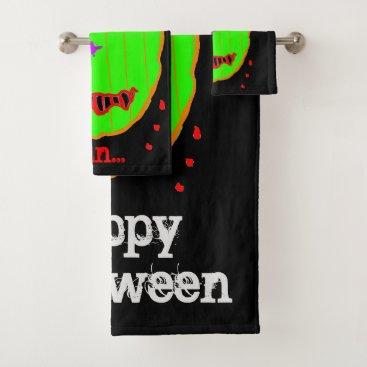 Halloween Themed Green Pumpkin Zombie Halloween Bath Towel Set
