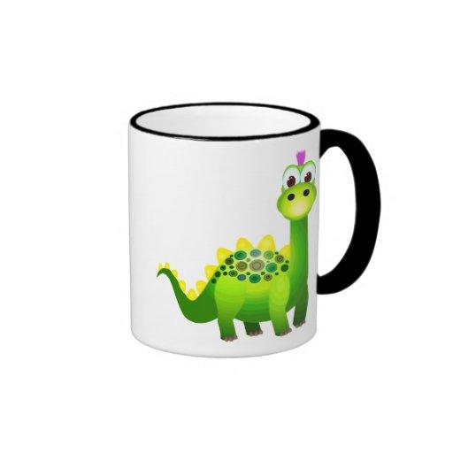 Green Punk Dino Coffee Mugs
