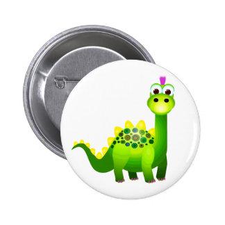 Green Punk Dino Pinback Button