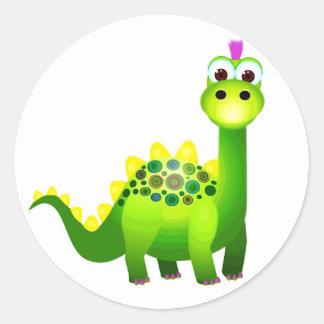 Green Punk Dino Round Sticker