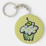green punk skull crossbones cupcake keychains