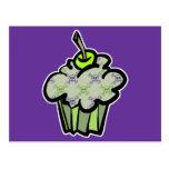 green punk skull crossbones cupcake postcard