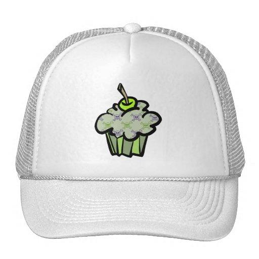 green punk skull crossbones cupcake trucker hat