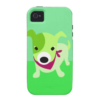Green Puppy with Bandana iPhone 4/4S Cases